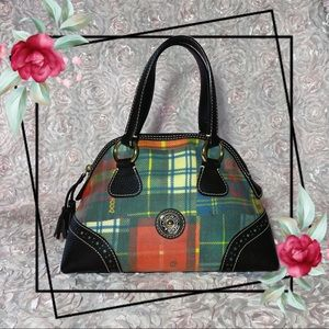Dooney & Bourke Plaid Small Domed Leather Satchel